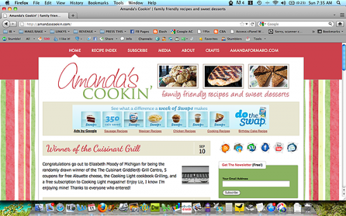 Screen shot of Amandascookin.com