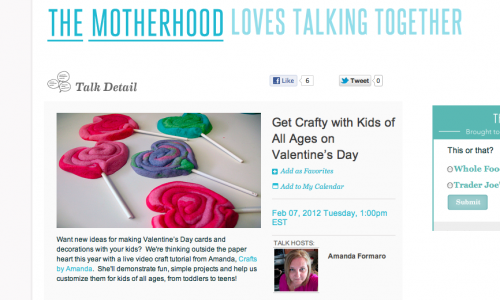 Live Valentine Craft Show on The Motherhood