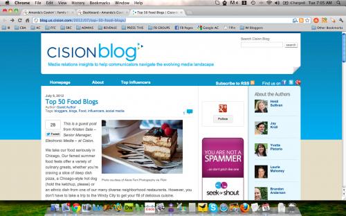 Amanda's Cookin' a Top 50 Food Blog