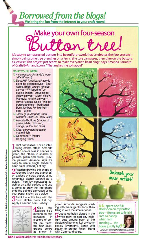 Amanda Formaro's Four Season Button Tree Woman's World Magazine Feature